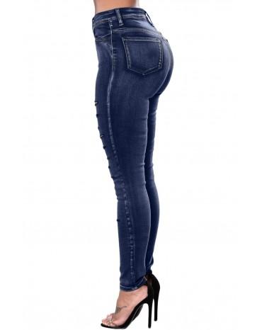 Blue Faded Denim Wash Leg Ripped Skinny Jeans