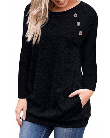 Triple Button Detail Black Heather Sweatshirt