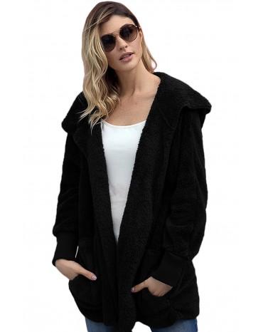 Blue Soft Fleece Hooded Open Front Coat