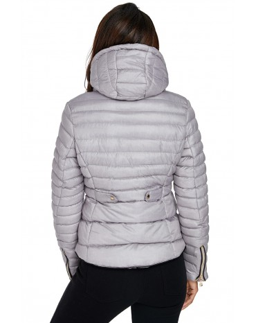 Gray Hooded Cotton Jacket with Zipped Pockets