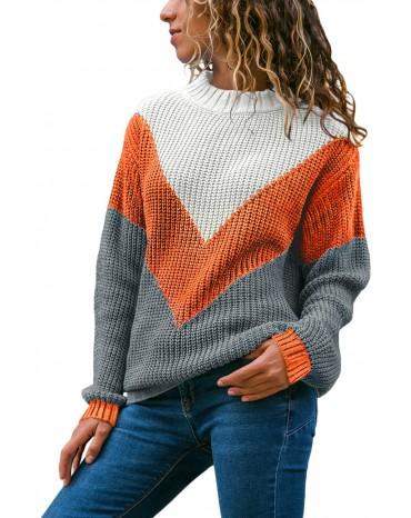 Orange Chevron Accent White Grey Sweater