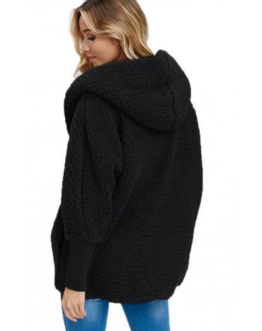 Black Woolen Fur Horn Button Oversize Jacket