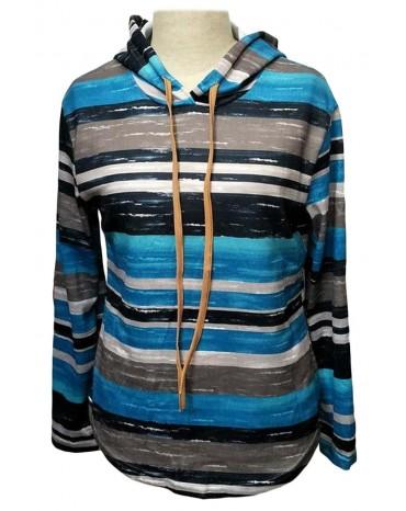 Blue Striped Drawstring Hoodie