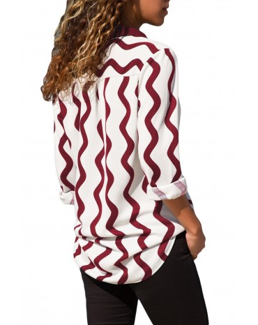 Burgundy White Wavy Stripes Button Down Blouse