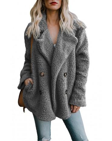 Gray Fleece Open Front Coat with Pockets