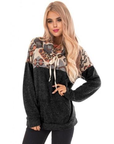 Black Tribal Cowl Neck Kangaroo Pocket Sweatshirt
