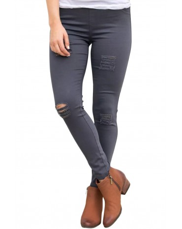 Gray Distressed Front Stretch Denim Pants