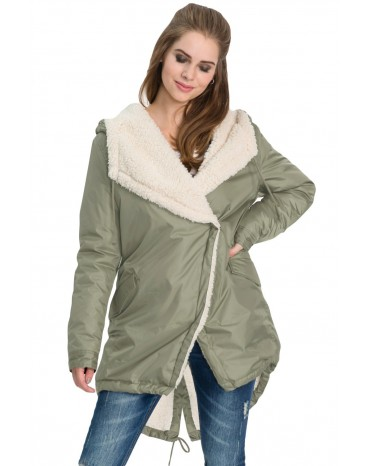 Khaki Asymmetric Hooded Fleece Winter Coat
