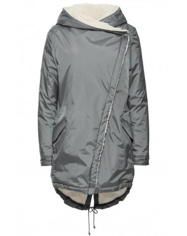 Gray Asymmetric Hooded Fleece Winter Coat