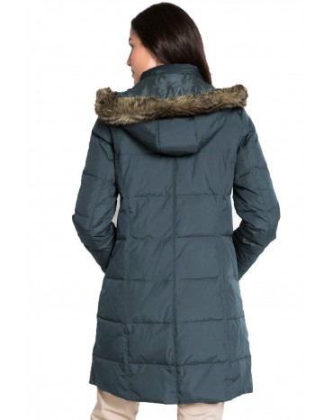 Gray Toggle Button Quilted Coat for Women