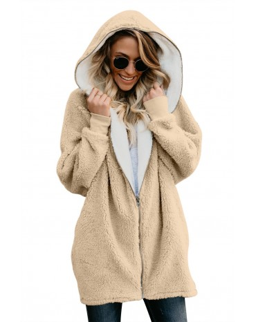 Apricot Zip Down Hooded Fluffy Coat
