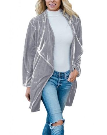 Gray Draped Open Front Velvet Jacket