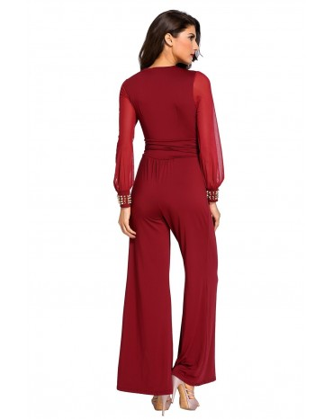 5061b5c780ac copy of Wine Embellished Cuffs Long Mesh Sleeves Jumpsuit