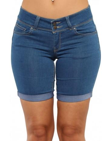 Roll Up Cuffs Blue Denim Bermuda Shorts