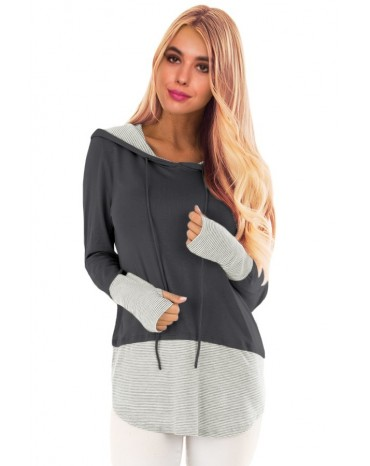 Pinstriped Patchwork Gray Thumbhole Sleeved Hoodie