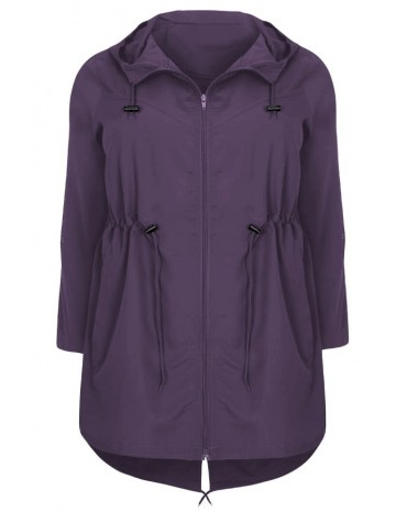 Purple Plus Size Pocket Parka Jacket