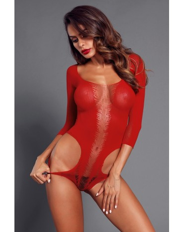 Red Cutout Detail Long Sleeve Off Shoulder Teddy