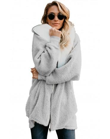 Gray Zip Down Hooded Fluffy Coat