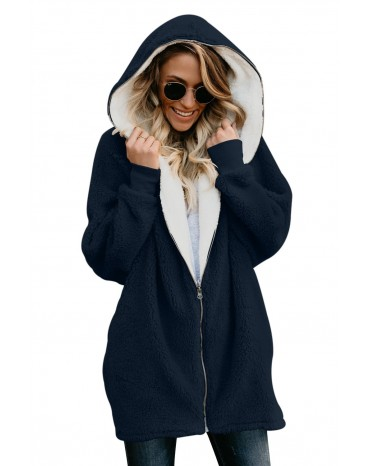 Navy Zip Down Hooded Fluffy Coat