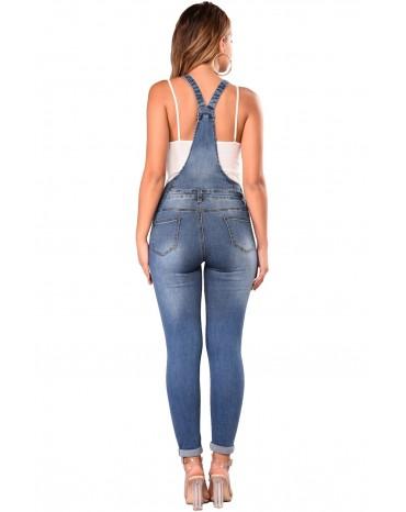 Medium Blue Wash Knee Slit Denim Overalls