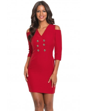 Red Cold Shoulder Sleeved Bodycon Mini Dress