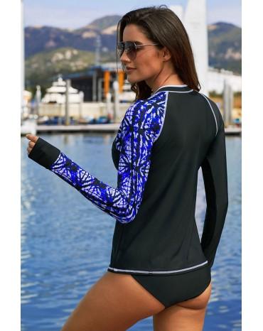 Purple Asymmetric Print Detail Rashguard Swim Top