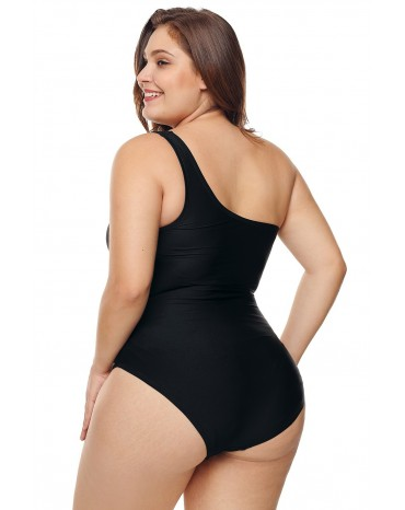 61c3723d5d20 ... One Shoulder Grid Cutout Side Plus Size Maillot Swimwear ...