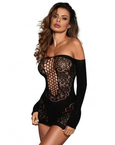 Black Off Shoulder Glove Sleeve Floral Lace Hollow-out Chemise