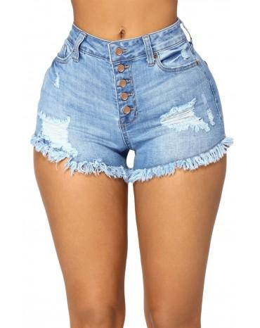 Light Blue Close Fit High Waist Denim Shorts
