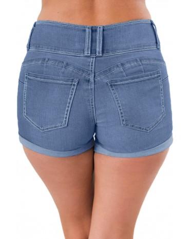 Light Blue Triple Button High Waisted Denim Shorts