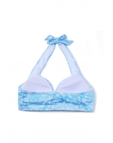 Halter Neck Blue Printed Yoga Bralette