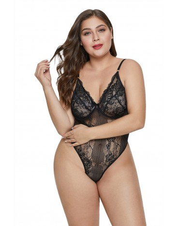 Black Sweet Floral Plus Size Teddy Lingerie