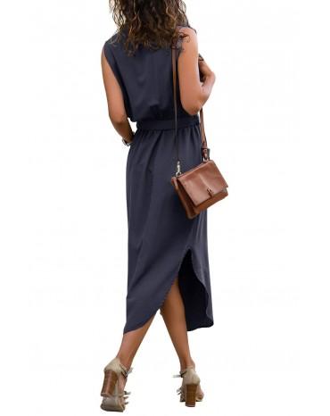 Blue Sleeveless Shirt Long Dress with Pockets
