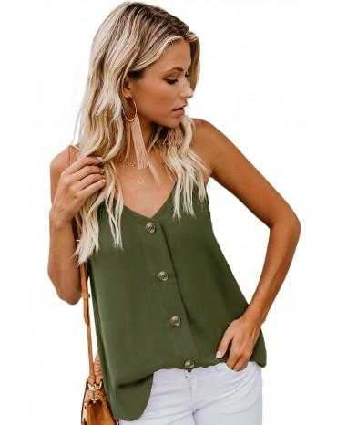 Green Spaghetti Strap Buttoned Tank Top