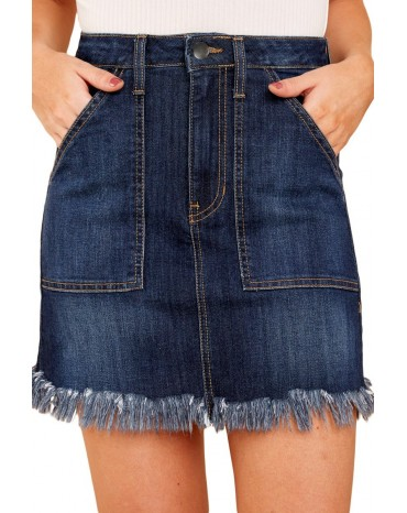 Blue Distressed Hem Denim Skirt