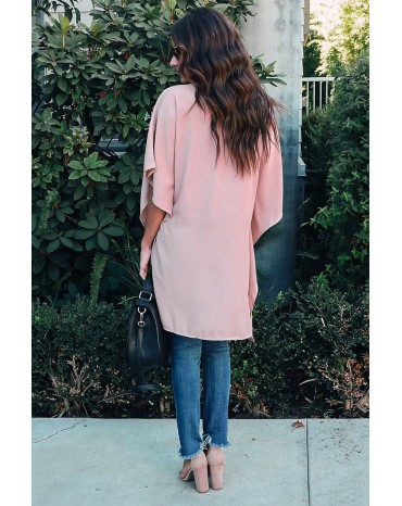 Pink Chic High Low Kimono Top