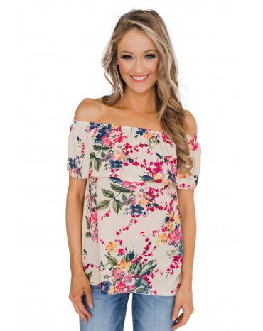 Apricot Grow with Me Off The Shoulder Floral Top