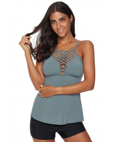Gray Netted Hollow-out Tankini Top