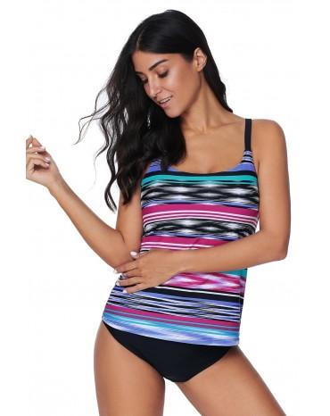 Multicolor Tie Dye Striped Tankini Top