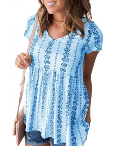 Sky Blue Short Sleeve V Neck Floral Print Peplum Tunic Top