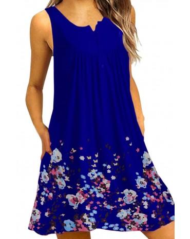 Blue Crew Neck A-Line Daily Beach Floral Dress