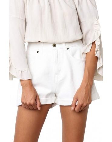 White Vintage Denim High Waisted Folded Hem Jeans Shorts