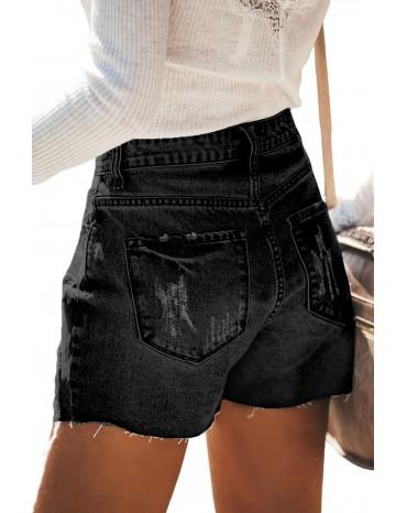 Black Hot Mama High Rise Distressed Denim Shorts