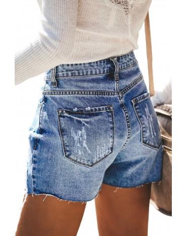 Sky Blue Hot Mama High Rise Distressed Denim Shorts