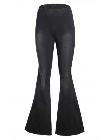 Black Distressed Bell Bottom Denim Pants