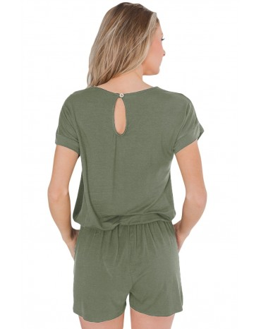 Green Short Sleeve Drawstring Romper