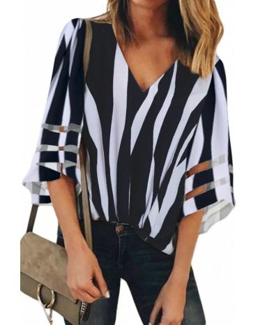 Black 3/4 Bell Sleeve V Neck Lace Patchwork Shirt
