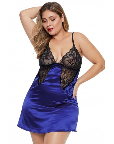 05e3b0b3a84 ... Blue Coloblock Lace Cup Hollow-out Plus Size Babydoll