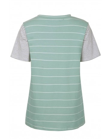 Green Striped Short Sleeve Contrast Color T-Shirt with Pocket