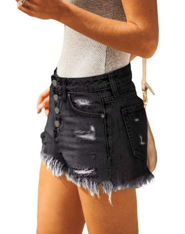 Black High Rise Cut Off Denim Shorts